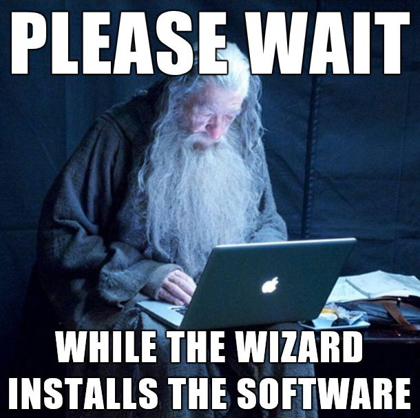 Wizard installing software humor