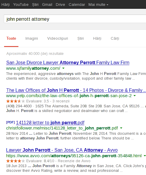 John Perrott Attorney search results in Romania