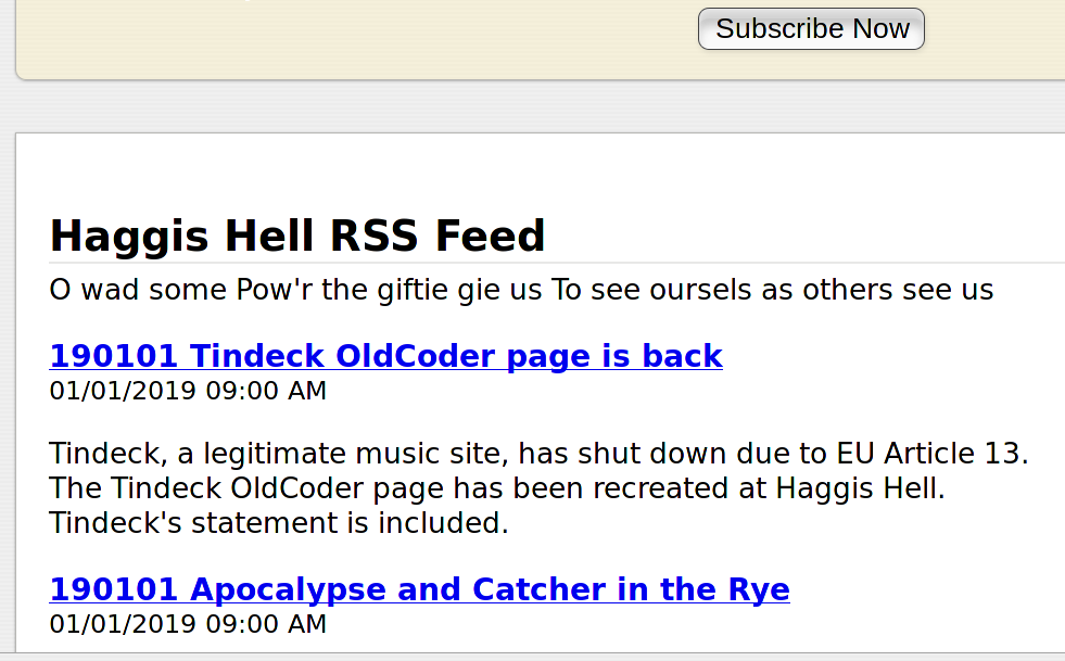 Haggis Hell RSS feed example